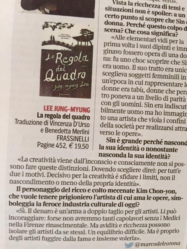 Recensione su La regola del quadro, La Lettura del Corriere,