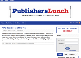 Publishers Lunch Top List, October 28th 2016
